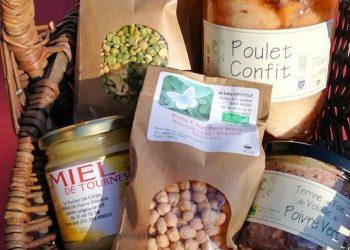 Panier de produits locaux bio de l'épicerie Plus que qu Vin